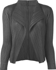 Pleated Open Front Cardigan Women Polyester 5, Grey