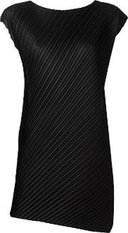 Pleated Tank Top Women Polyester 1, Black