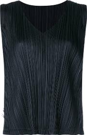 Pleated Tank Top Women Polyester 3, Black