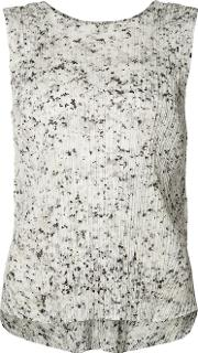 Pleated Texture Tank Women Polyester 3, White