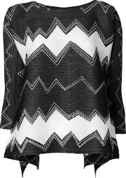 Pleats Please By Issey Miyake Patterned Blouse Women Polyester 3, Black