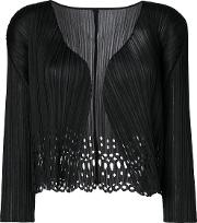 Pleats Please By Issey Miyake Pleated Cardigan Women Polyester 13, Black