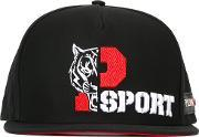 Tiger Embroidered Cap Men Cottonpolyester One Size, Black