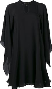 Cape Mini Dress Women Silk 36, Black