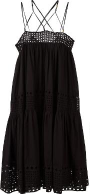 Crisscross Strap Dress Women Cotton 40, Black