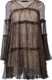 Flared Short Dress Women Silk 40, Brown