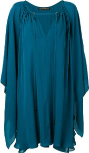 V Neck Dress Women Silk 36, Women's, Blue