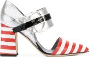 Striped Ankle Strap Heels Women Leathercalf Suede 37, Grey