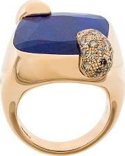 18kt Rose Gold Ritratto Lapis Lazuli And Diamond Ring
