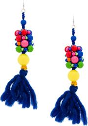 1961 Beaded Wool Tassel Earrings
