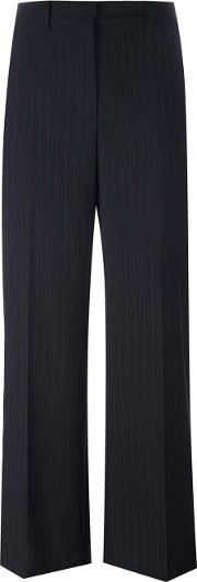 1961 Pinstriped Straight Leg Trousers Women Polyesterviscosewool 40, Women's, Blue