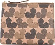 1961 Star Print Clutch Men Leather One Size, Brown