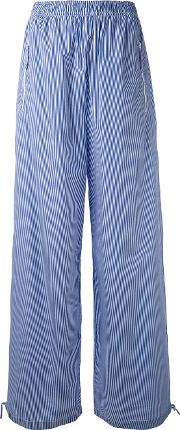 1961 Striped High Waisted Trousers Women Cotton 40, Blue