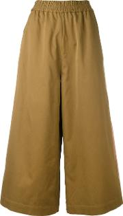 1961 Wide Leg Trousers Women Cotton 40, Brown