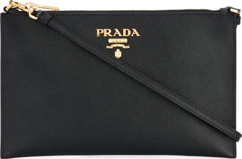 80df2a73aa6e prada Logo Plaque Clutch Bag Women Leather