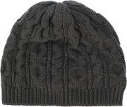 Pringle Of Scotland Cable Knit Beanie Men Cashmere One Size, Grey