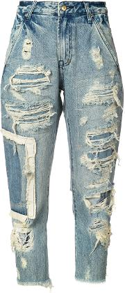 Distressed Straight Jeans Women Cotton 26, Blue
