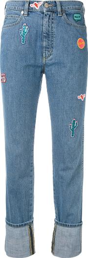 Embroidered Patch Straight Jeans Women Cotton 28, Blue
