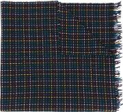 Ps By Paul Smith Checked Pattern Scarf Men Cottonpolyamidewool One Size, Blue