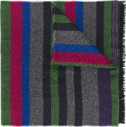 Ps By Paul Smith Striped Pattern Scarf Men Wool One Size