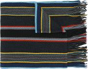 Ps By Paul Smith Striped Scarf Men Virgin Wool One Size, Blue
