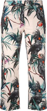Tropical Print Cropped Trousers Women Viscosecottonpolyester 40, Nudeneutrals