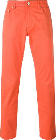Classic Chino Trousers Men Cottonspandexelastane 30, Yelloworange