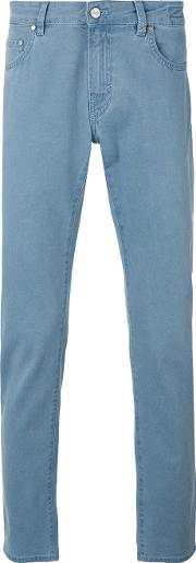 Plain Chinos Men Cottonspandexelastane 36, Blue