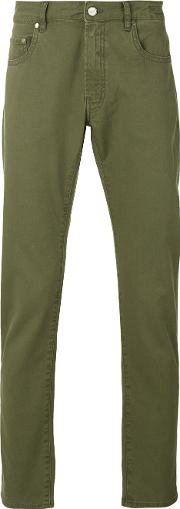 Plain Chinos Men Cottonspandexelastane 38, Green