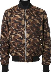 Public School Camouflage Bomber Jacket Men Polyesteracetate M, Brown