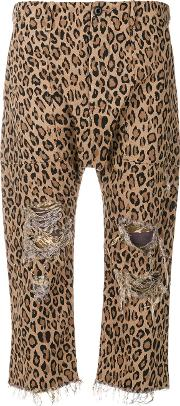 Leopard Printed Cropped Trousers
