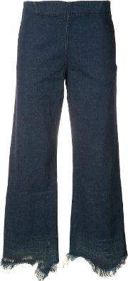 Frayed Hem Jeans Women Cotton 2, Blue