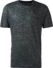 Round Neck T Shirt Men Linenflax M, Grey