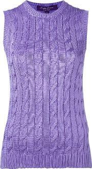 Cable Knit Crew Neck Tank Top Women Silk L, Women's, Pinkpurple