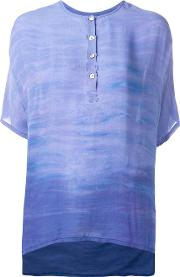 Henley Blouse Women Silk 0, Women's, Blue