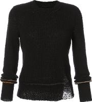 Long Sleeve Distressed Knitted Sweater Women Cottonpolyester 0, Black