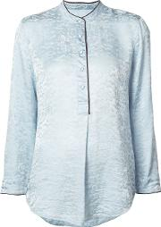 Oriental Blouse Women Silk M, Blue