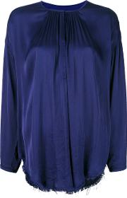 Shirred Peasant Blouse Women Cottonviscose 2, Blue