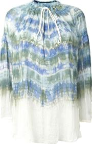 Tie Dye Peasant Blouse Women Silk