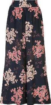 Floral Print Cropped Trousers Women Silk L, Blue