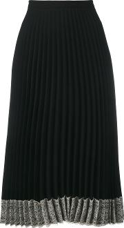 Lace Trimmed Crepe Skirt Women Polyesteracetate 38, Black