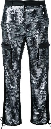 Sequin Embellished Cargo Trousers Women Silkpolyester 42, Black