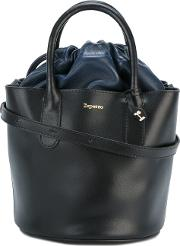 Drawstring Bucket Tote Women Leather One Size, Black