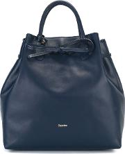 Drawstring Tote Women Leather One Size, Blue