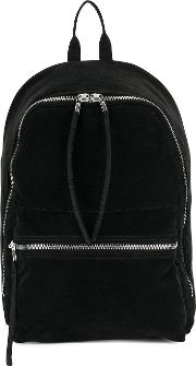 Zip Backpack Unisex Cotton One Size Black