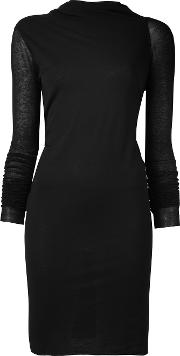 Twisted Neck Fitted Dress Women Cottonviscosepolyimide 44, Black