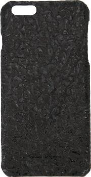 Textured Iphone 6 Case Men Calf Leather One Size, Black