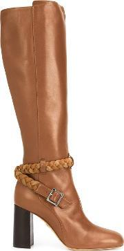 Braided Detail Knee Length Boots Women Leathersuede 38.5