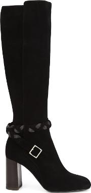 Braided Detail Knee Length Boots Women Suedeleather 38, Black