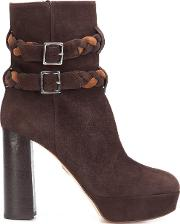 Braided Strap Boots Women Leathersuede 38.5, Brown